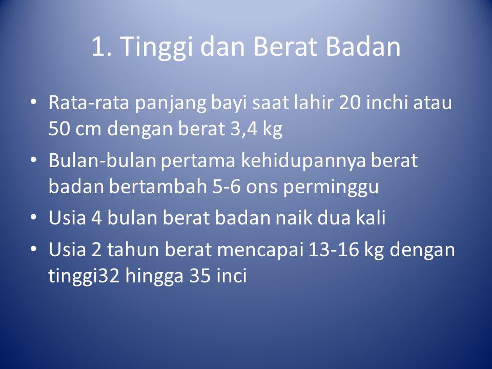 1. Tinggi dan Berat Badan Rata-rata panjang bayi saat lahir 20 inchi atau 50 cm dengan berat 3,4 kg.