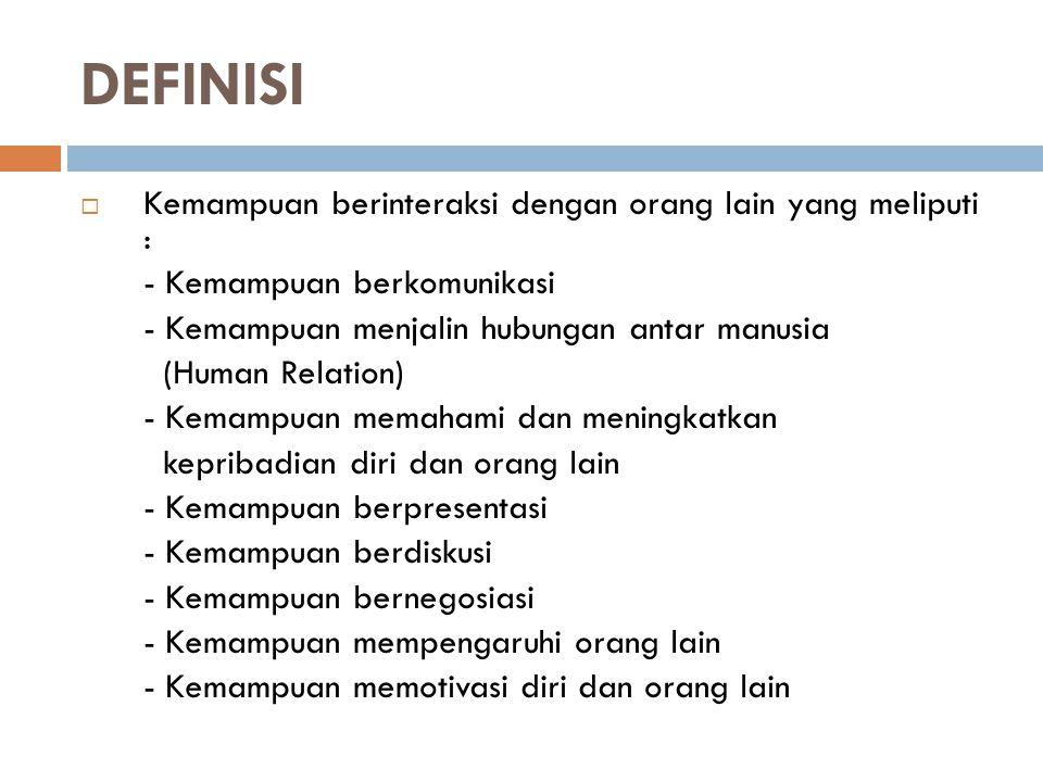 DEFINISI Kemampuan berinteraksi dengan orang lain yang meliputi :