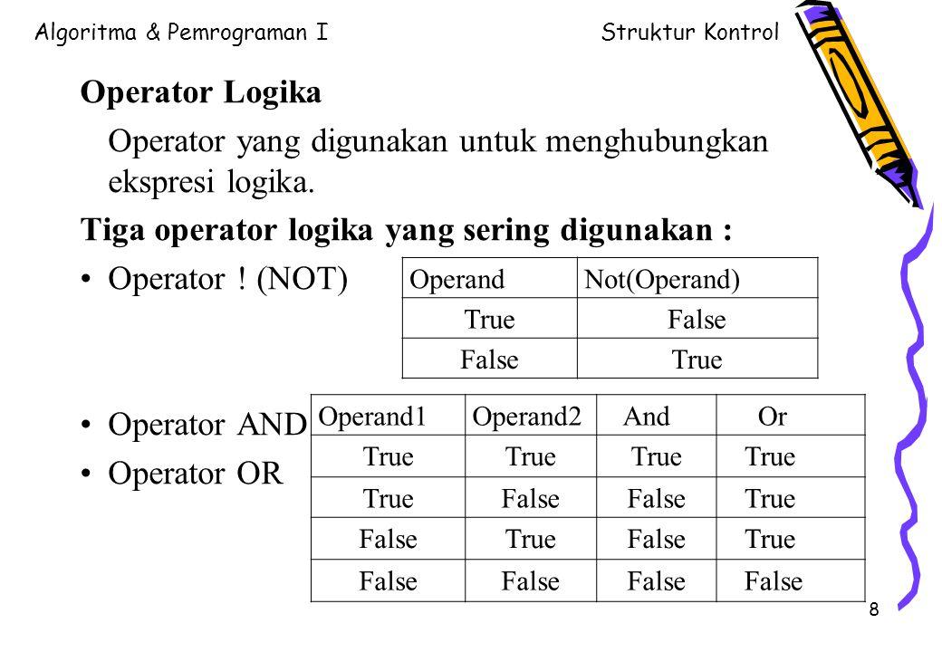 Operator yang digunakan untuk menghubungkan ekspresi logika.