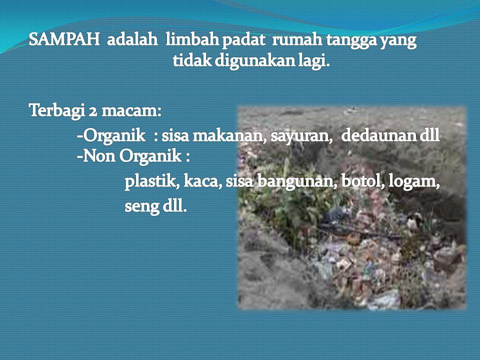 SAMPAH adalah limbah padat rumah tangga yang tidak digunakan lagi.