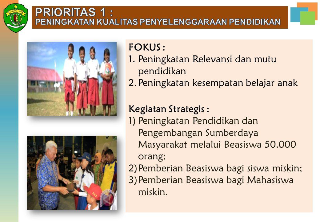 PRIORITAS 1 : FOKUS : Peningkatan Relevansi dan mutu pendidikan