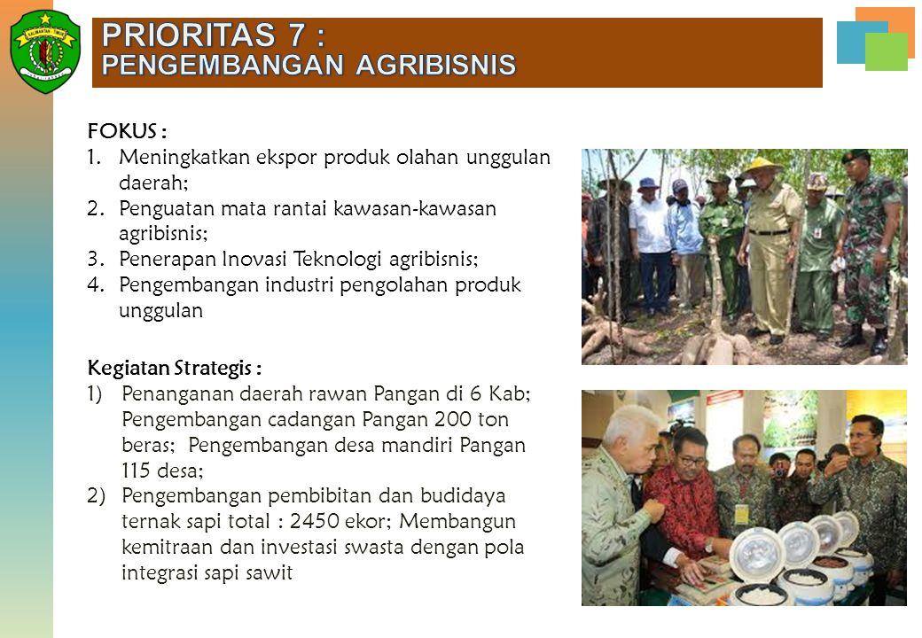 PRIORITAS 7 : PENGEMBANGAN AGRIBISNIS FOKUS :
