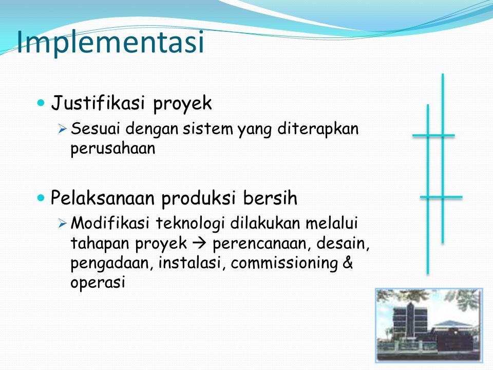 Implementasi Justifikasi proyek Pelaksanaan produksi bersih