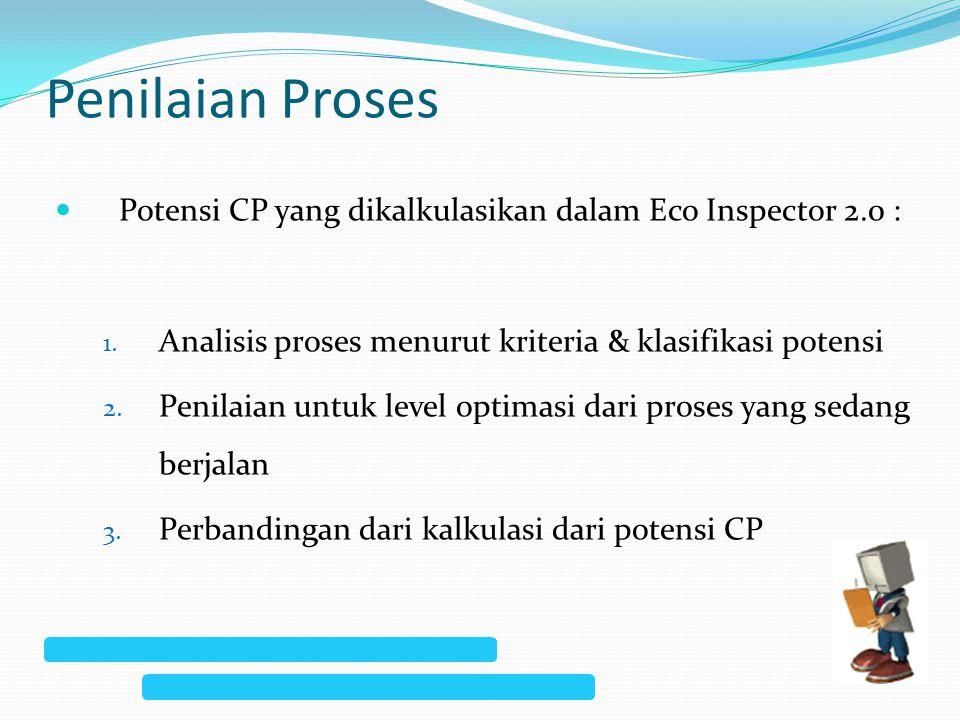 Penilaian Proses Potensi CP yang dikalkulasikan dalam Eco Inspector 2.0 : Analisis proses menurut kriteria & klasifikasi potensi.