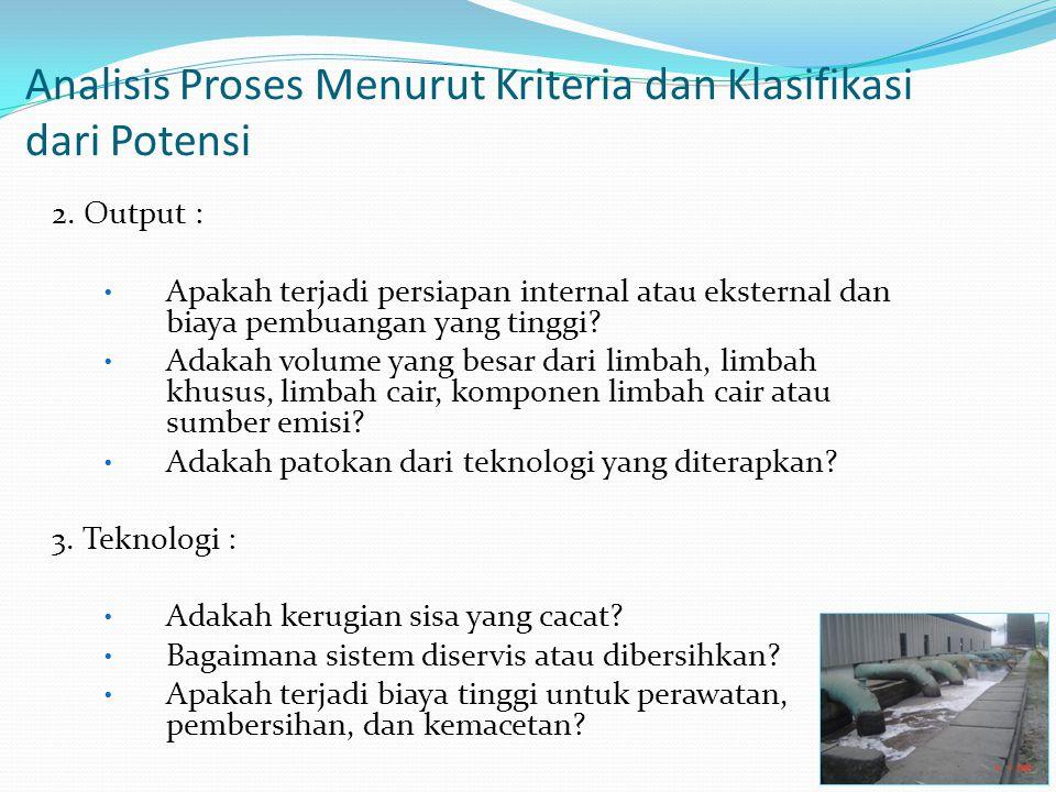Analisis Proses Menurut Kriteria dan Klasifikasi dari Potensi