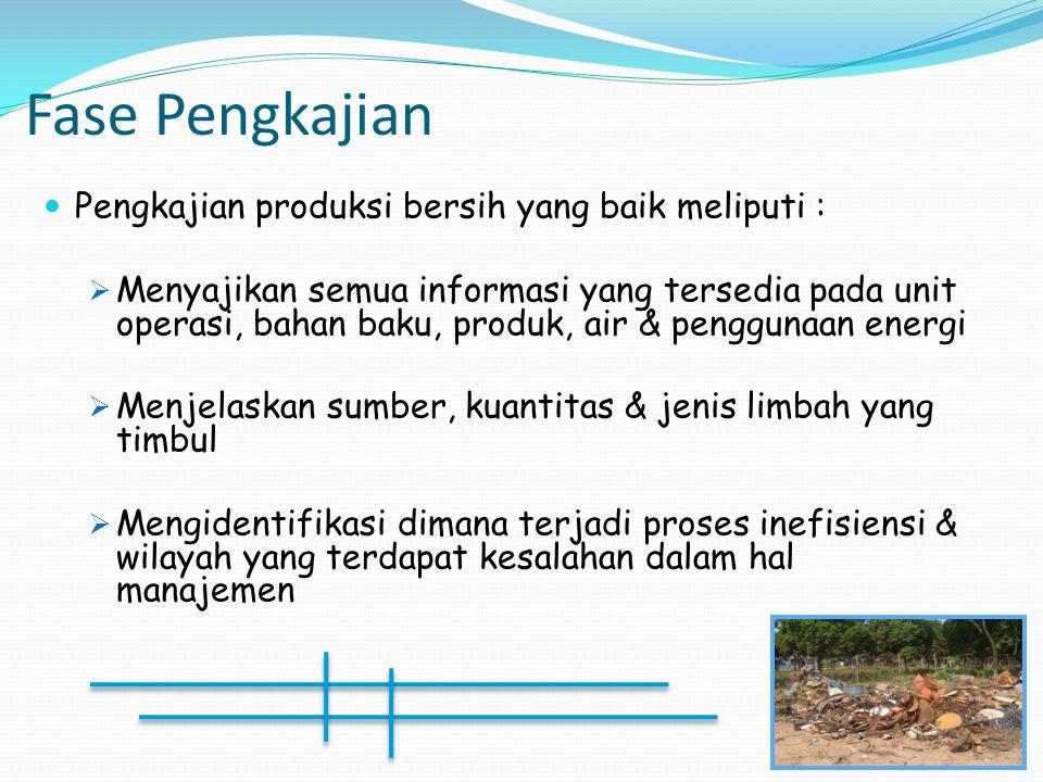 Fase Pengkajian Pengkajian produksi bersih yang baik meliputi :