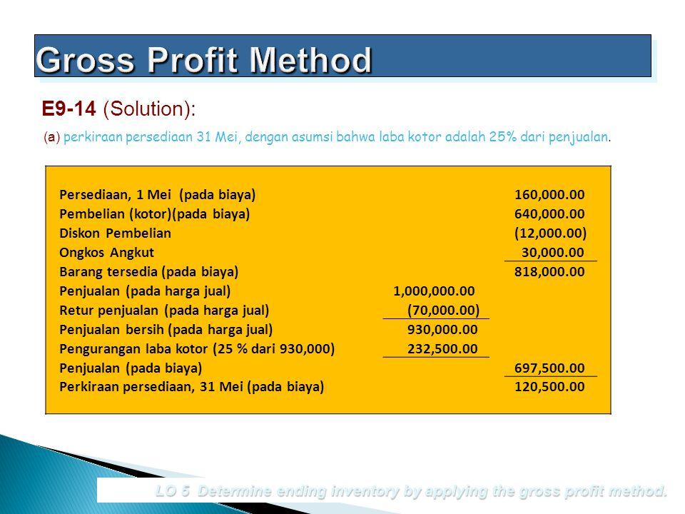 Gross Profit Method E9-14 (Solution): Persediaan, 1 Mei (pada biaya)