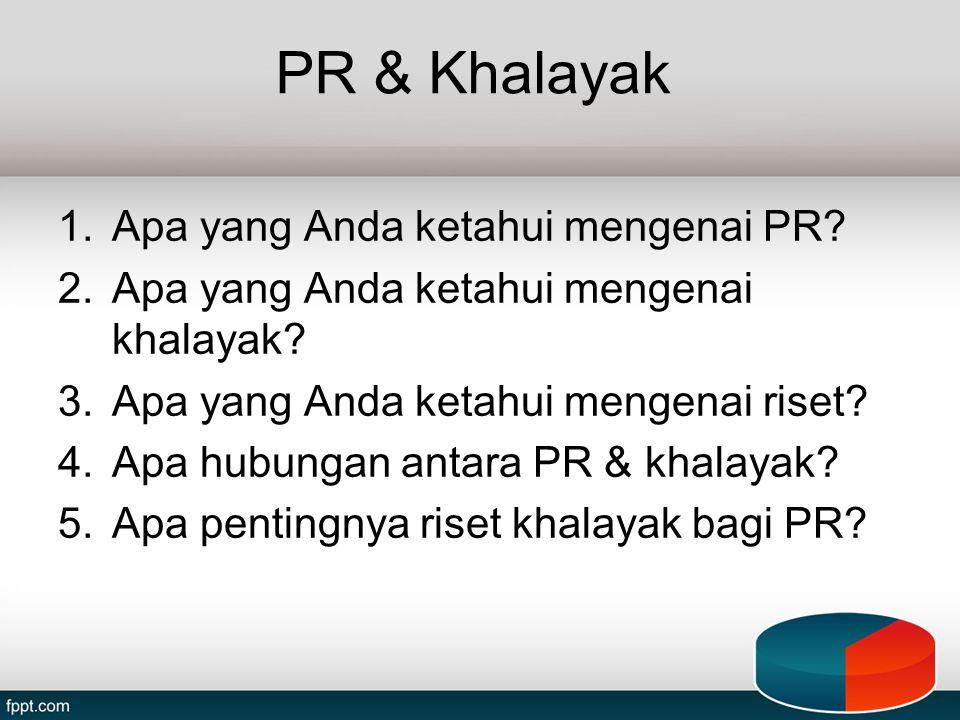 PR & Khalayak Apa yang Anda ketahui mengenai PR