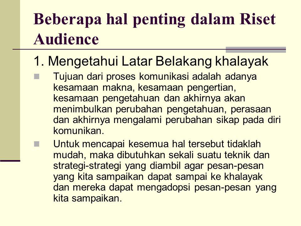Beberapa hal penting dalam Riset Audience