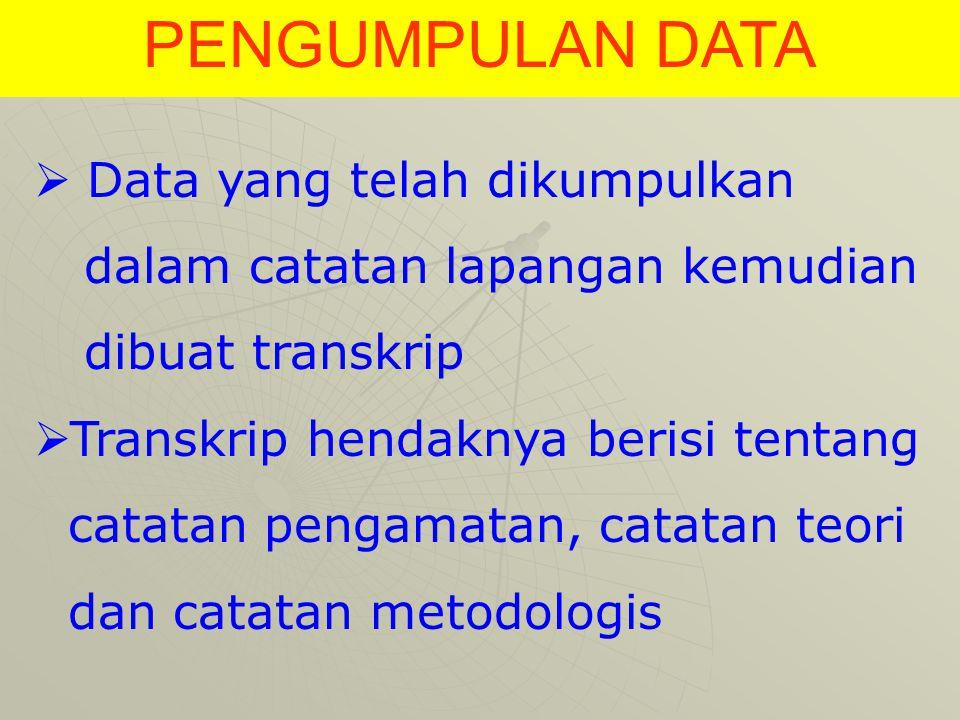 PENGUMPULAN DATA Data yang telah dikumpulkan