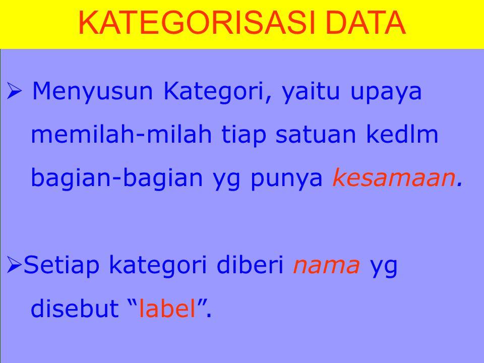 KATEGORISASI DATA Menyusun Kategori, yaitu upaya