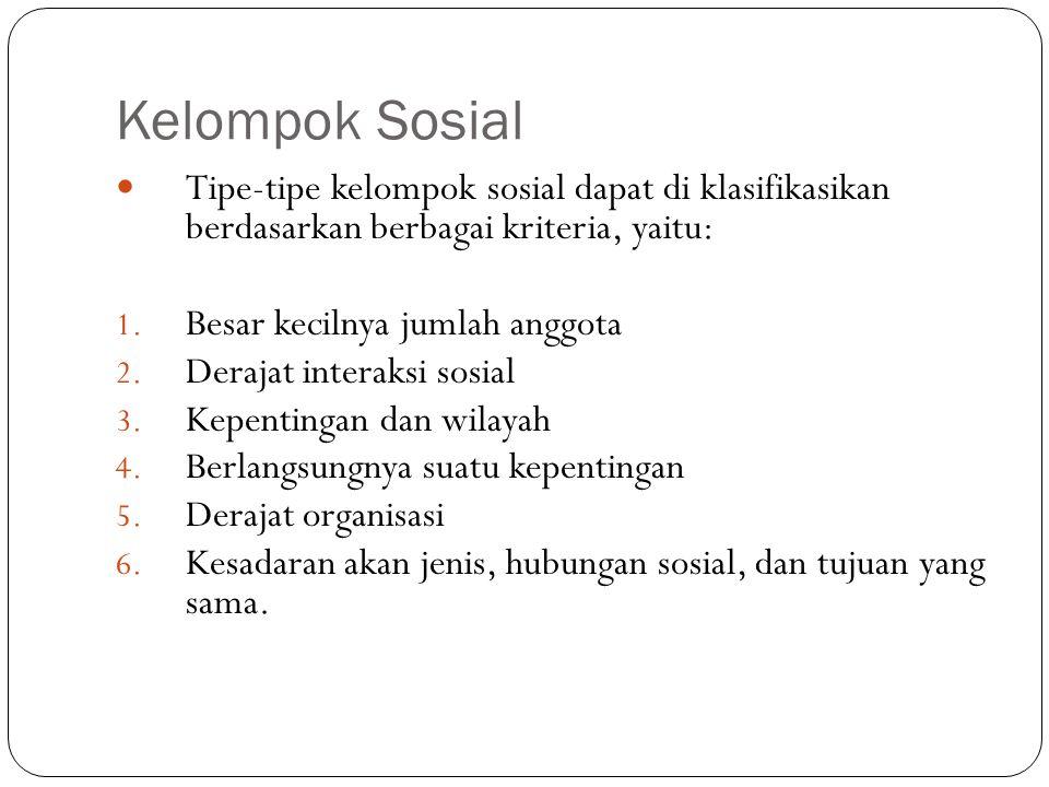 Kelompok Sosial Tipe-tipe kelompok sosial dapat di klasifikasikan berdasarkan berbagai kriteria, yaitu: