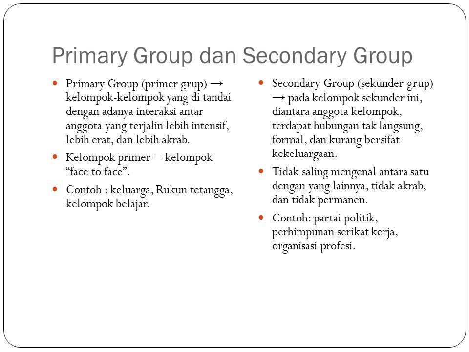 Primary Group dan Secondary Group