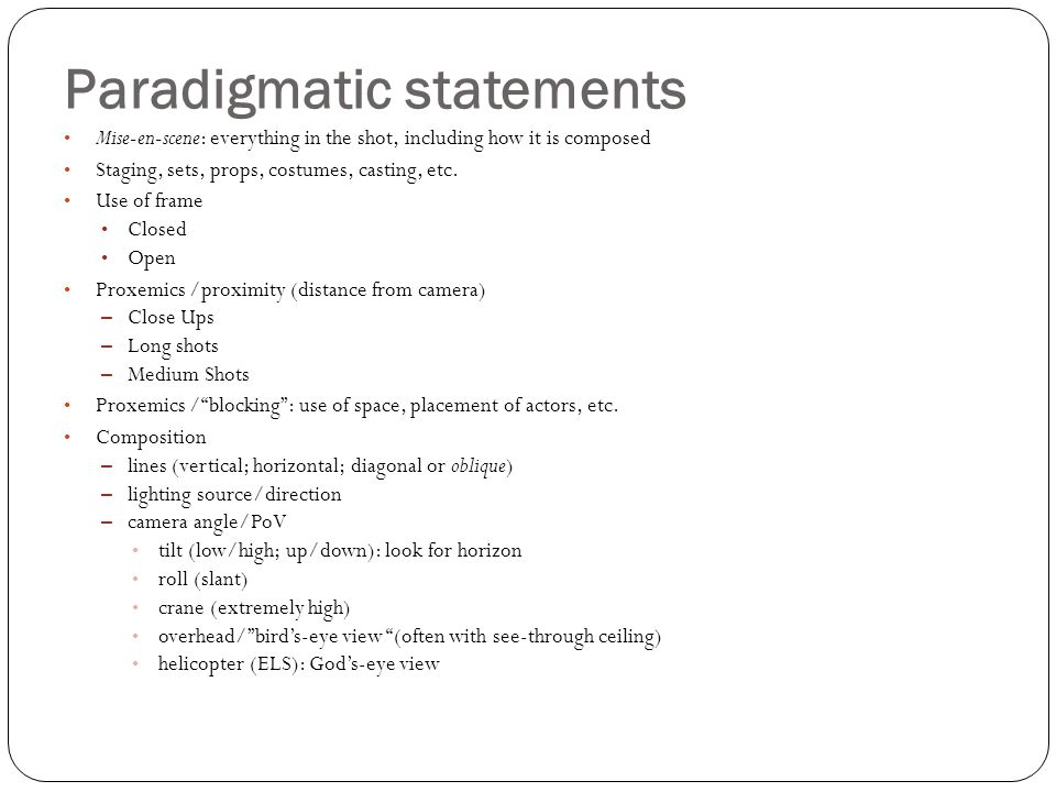 Paradigmatic statements