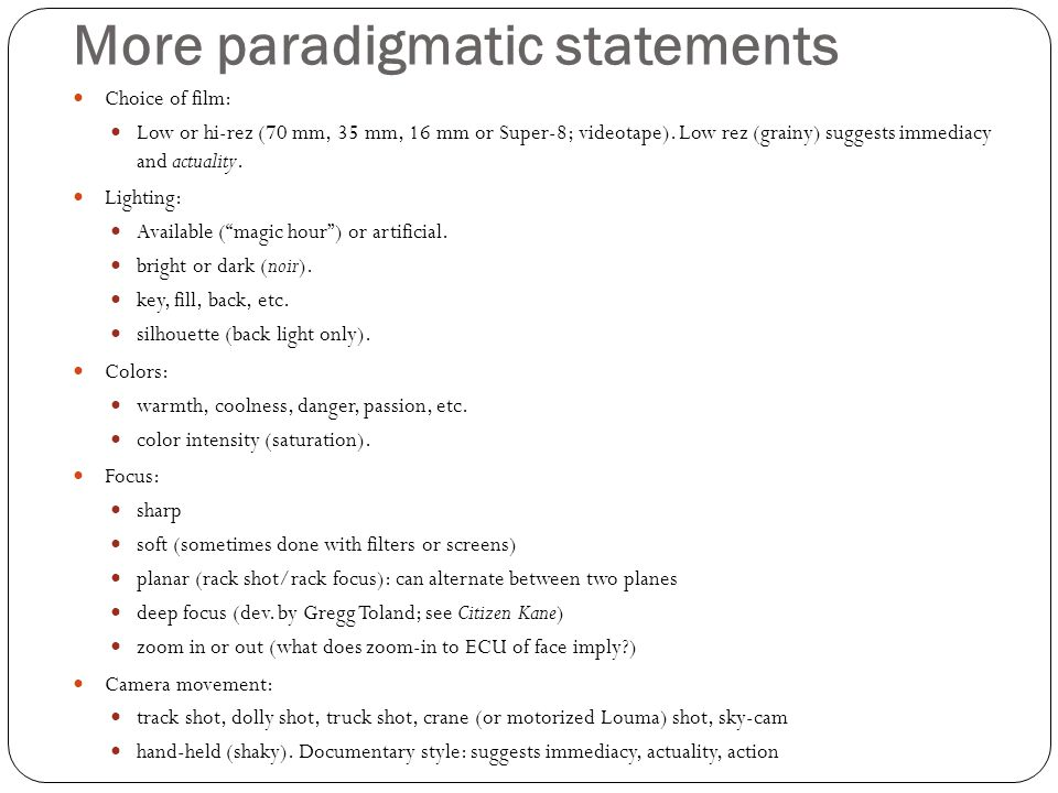 More paradigmatic statements