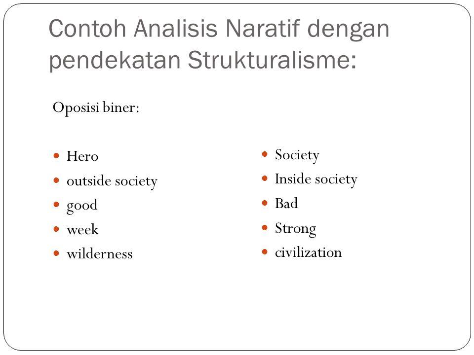 Contoh Analisis Naratif dengan pendekatan Strukturalisme: