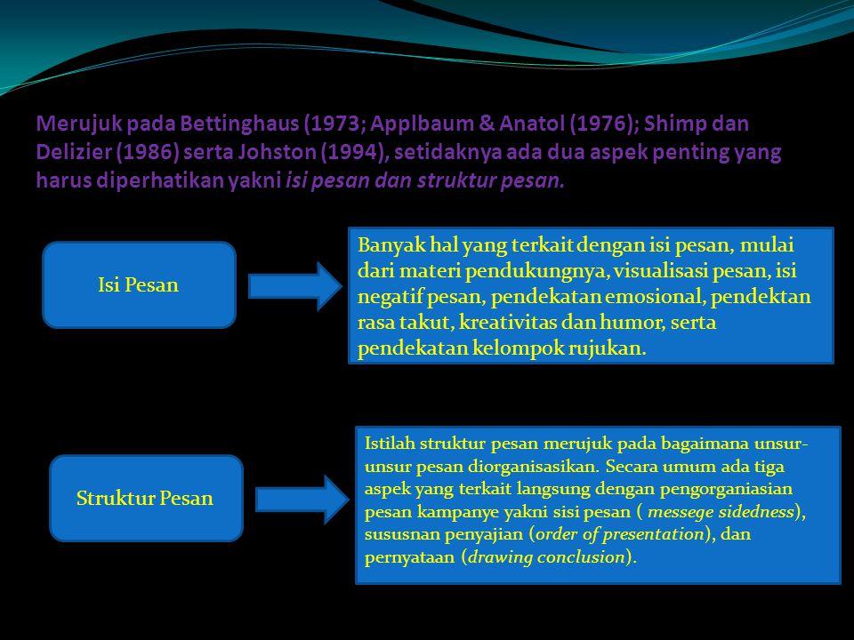 Merujuk pada Bettinghaus (1973; Applbaum & Anatol (1976); Shimp dan Delizier (1986) serta Johston (1994), setidaknya ada dua aspek penting yang harus diperhatikan yakni isi pesan dan struktur pesan.