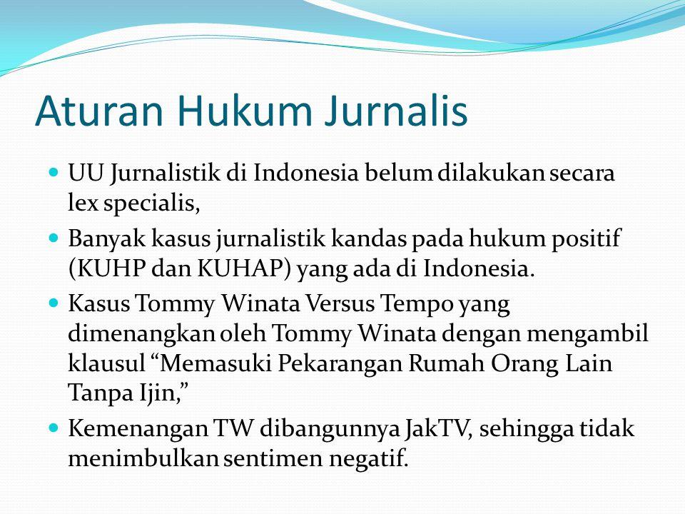 Aturan Hukum Jurnalis UU Jurnalistik di Indonesia belum dilakukan secara lex specialis,