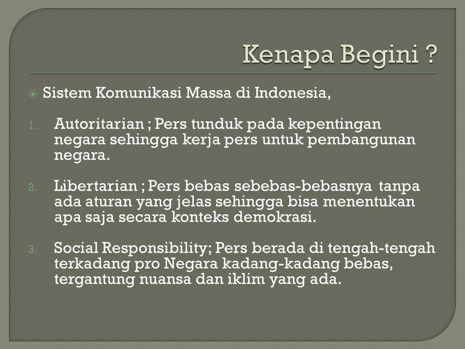 Kenapa Begini Sistem Komunikasi Massa di Indonesia,