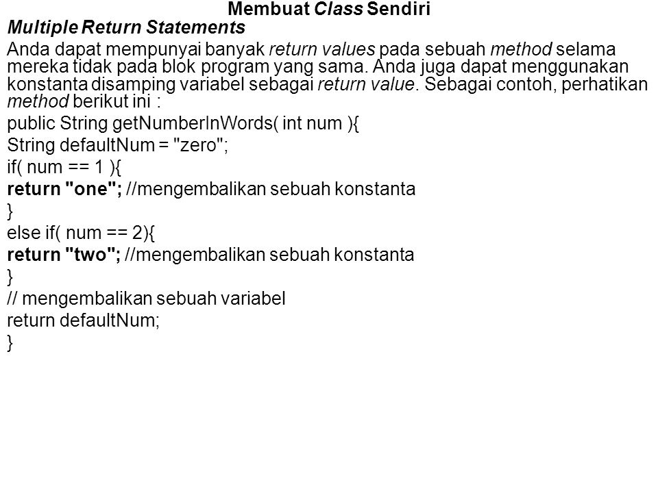 Membuat Class Sendiri Multiple Return Statements.