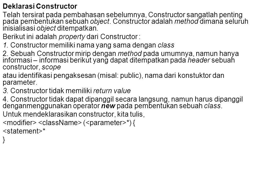 Deklarasi Constructor