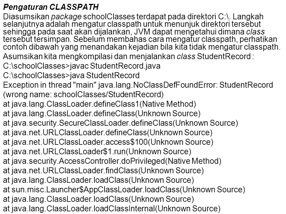 Pengaturan CLASSPATH