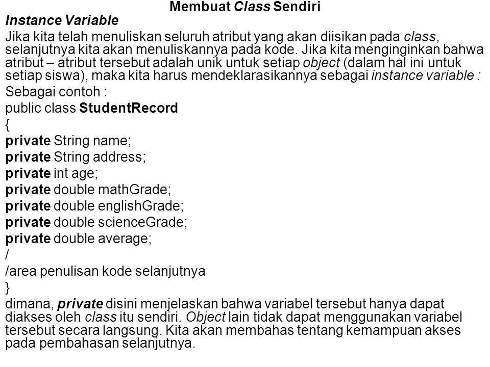 Membuat Class Sendiri Instance Variable.