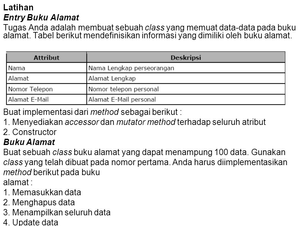 Latihan Entry Buku Alamat.