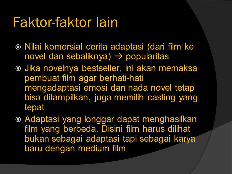 Faktor-faktor lain Nilai komersial cerita adaptasi (dari film ke novel dan sebaliknya)  popularitas.