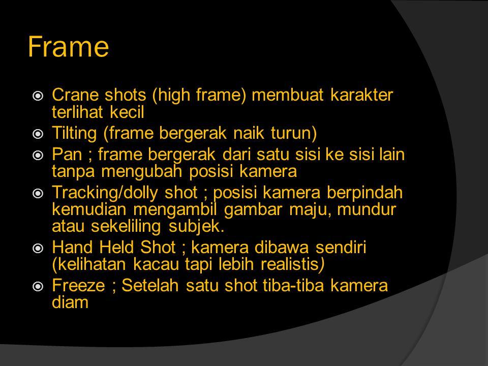 Frame Crane shots (high frame) membuat karakter terlihat kecil