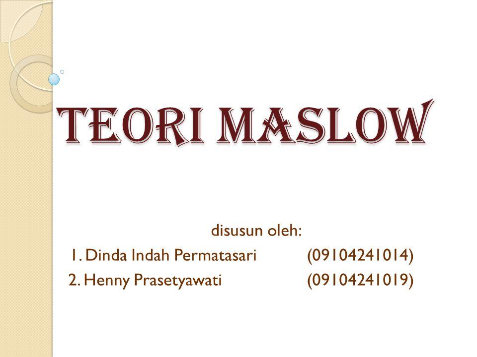 TEORI MASLOW disusun oleh: 1. Dinda Indah Permatasari (09104241014)