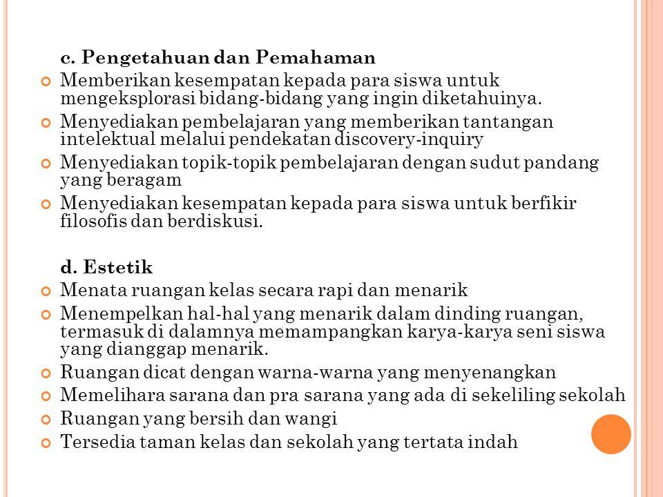 c. Pengetahuan dan Pemahaman