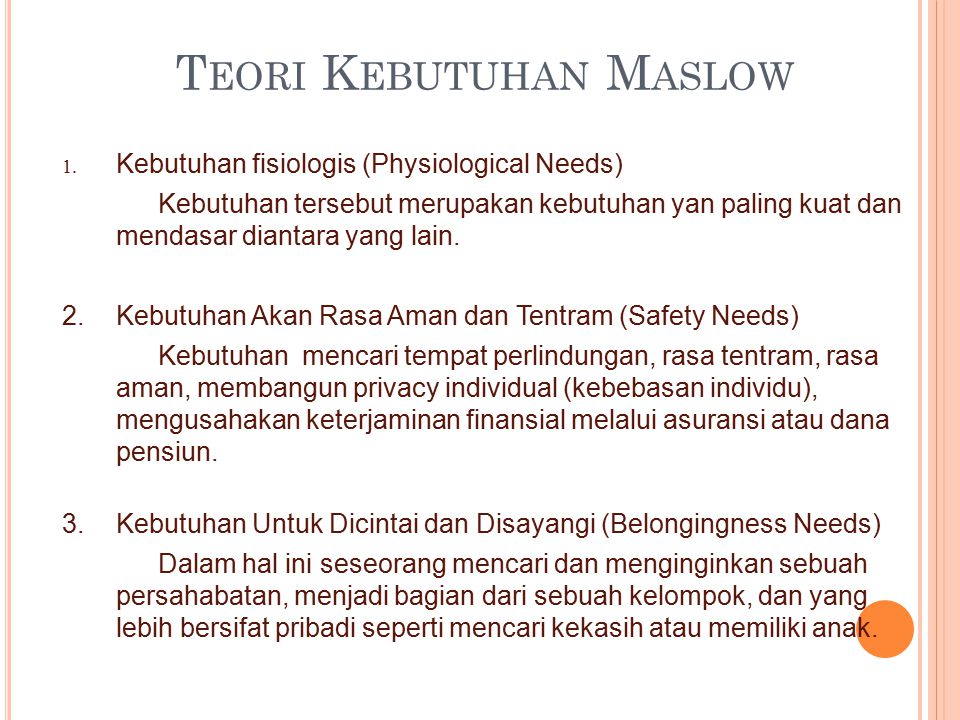 Teori Kebutuhan Maslow