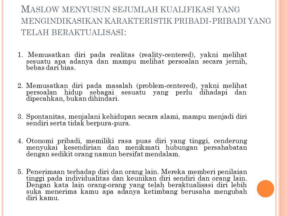 Maslow menyusun sejumlah kualifikasi yang mengindikasikan karakteristik pribadi-pribadi yang telah beraktualisasi: