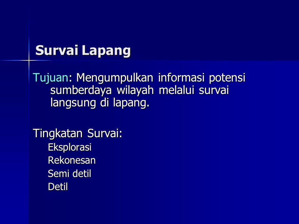Survai Lapang Tujuan: Mengumpulkan informasi potensi sumberdaya wilayah melalui survai langsung di lapang.