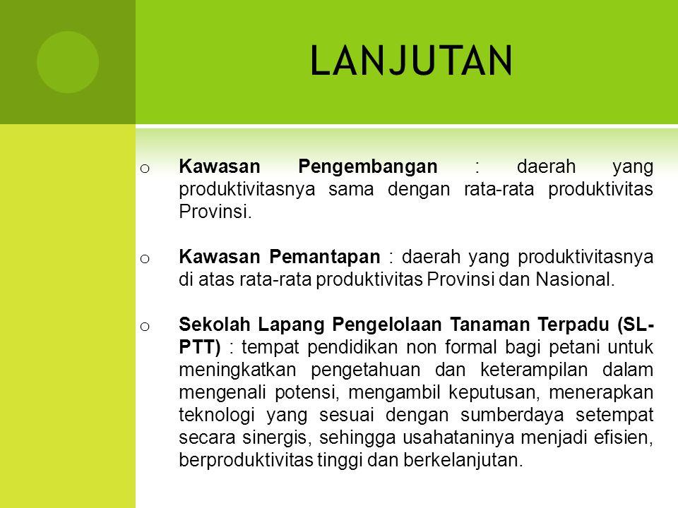 LANJUTAN Kawasan Pengembangan : daerah yang produktivitasnya sama dengan rata-rata produktivitas Provinsi.
