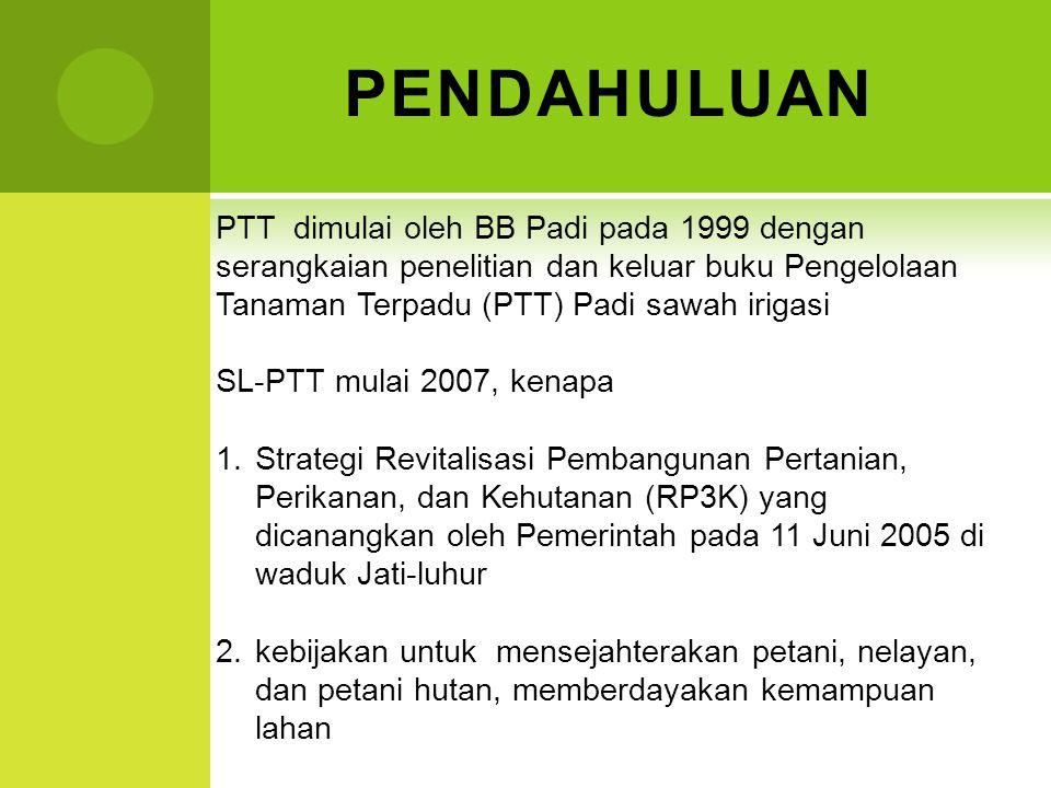 PENDAHULUAN PTT dimulai oleh BB Padi pada 1999 dengan serangkaian penelitian dan keluar buku Pengelolaan Tanaman Terpadu (PTT) Padi sawah irigasi.