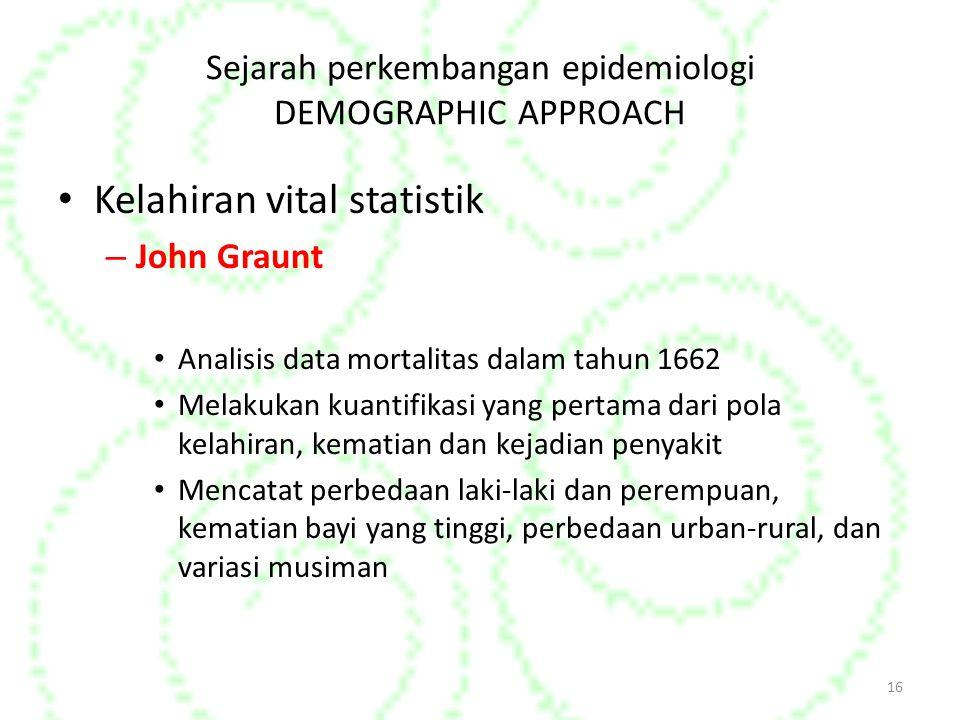 Sejarah perkembangan epidemiologi DEMOGRAPHIC APPROACH