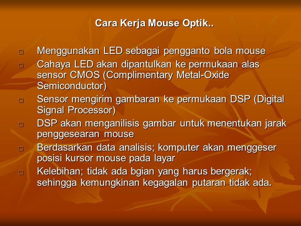 Cara Kerja Mouse Optik.. Menggunakan LED sebagai pengganto bola mouse.