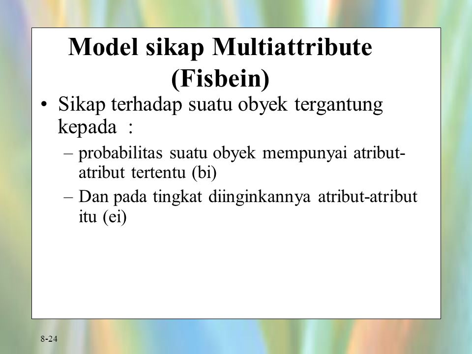 Model sikap Multiattribute (Fisbein)