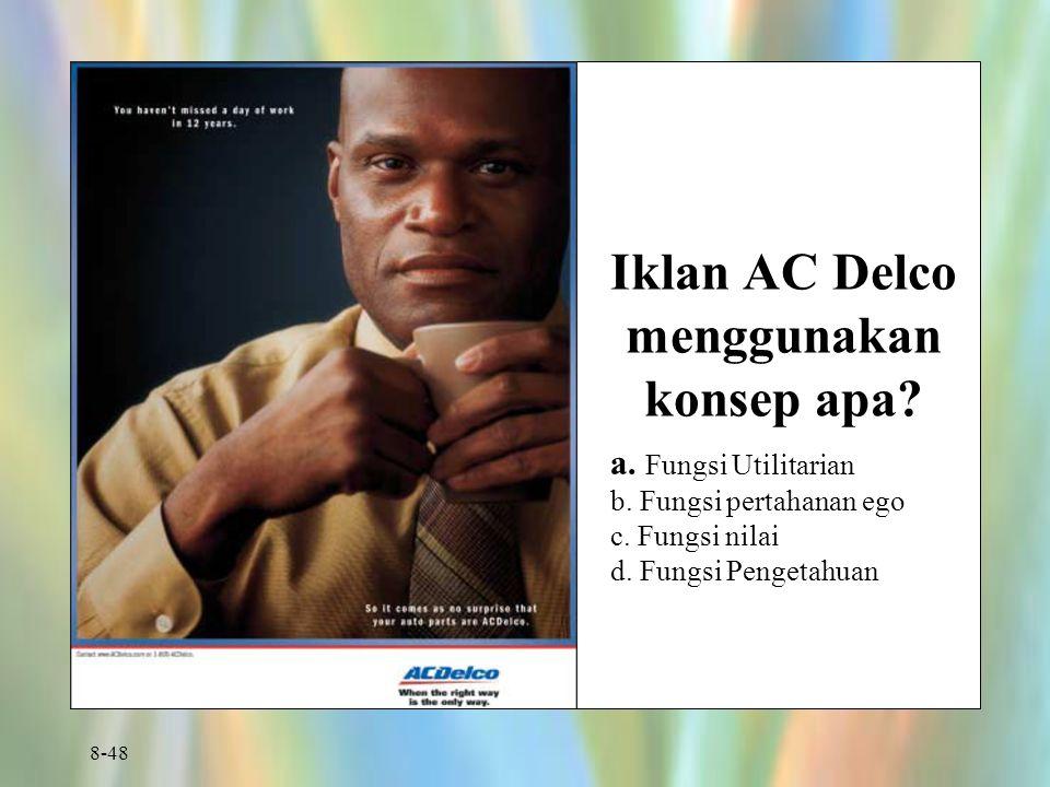 Iklan AC Delco menggunakan konsep apa