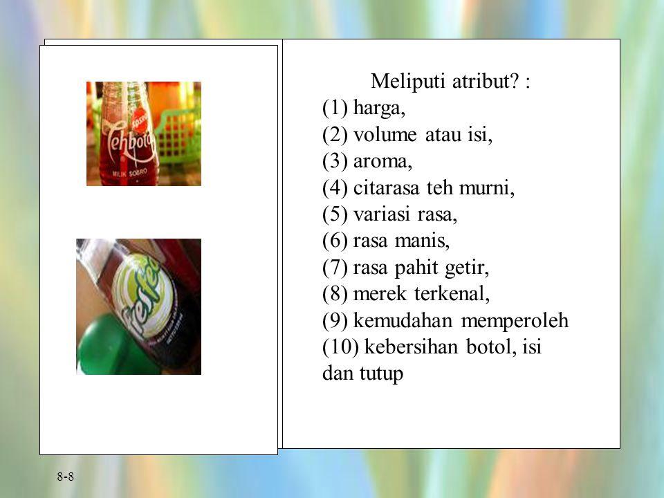 Meliputi atribut : (1) harga, (2) volume atau isi, (3) aroma, (4) citarasa teh murni, (5) variasi rasa,
