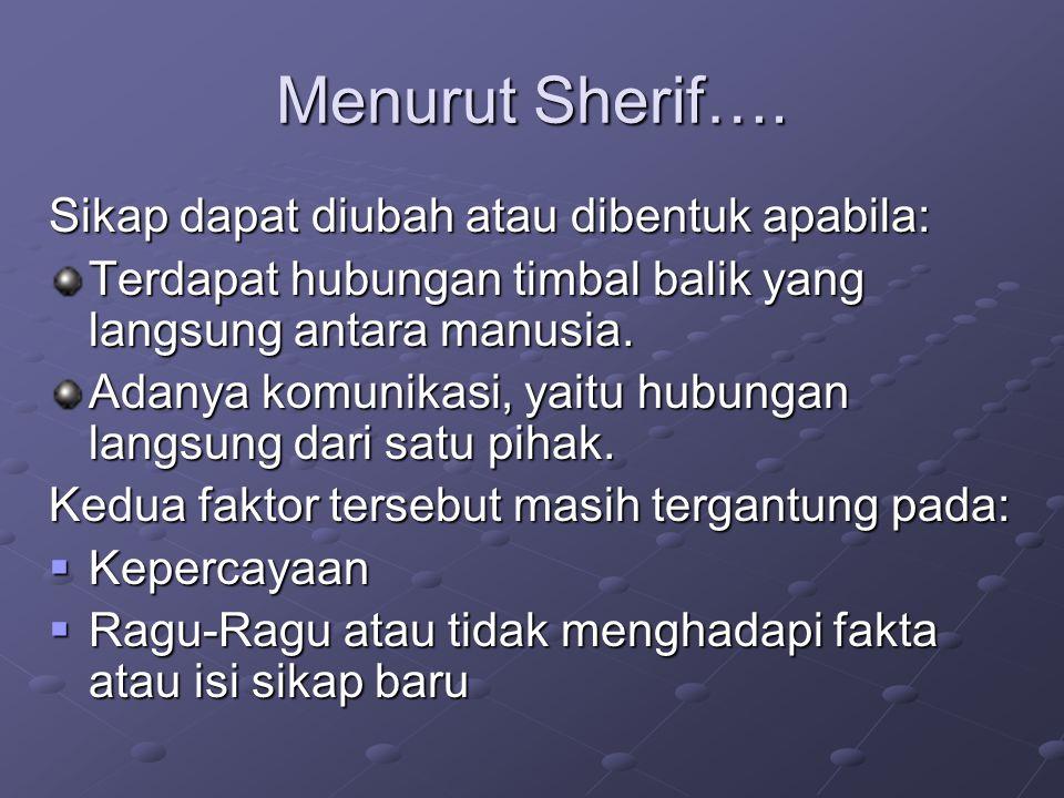 Menurut Sherif…. Sikap dapat diubah atau dibentuk apabila: