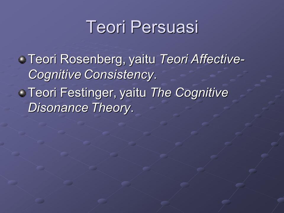 Teori Persuasi Teori Rosenberg, yaitu Teori Affective-Cognitive Consistency.