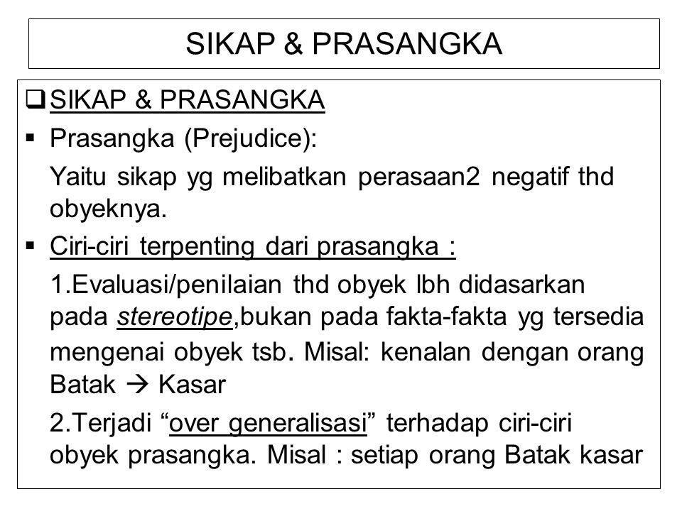 SIKAP & PRASANGKA SIKAP & PRASANGKA Prasangka (Prejudice):