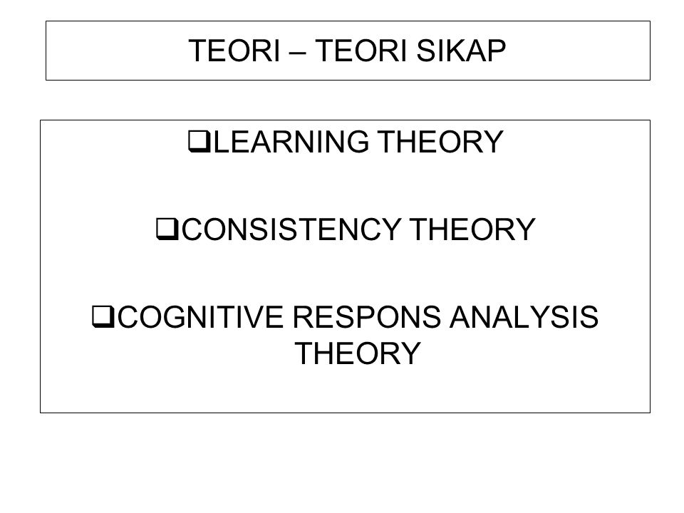 COGNITIVE RESPONS ANALYSIS THEORY