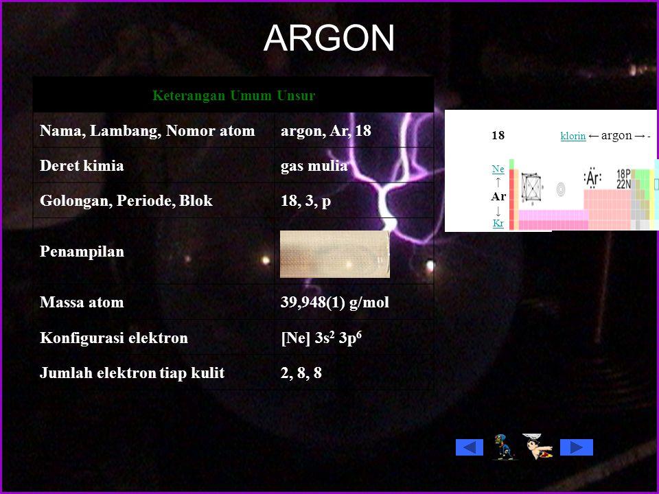 ARGON Nama, Lambang, Nomor atom argon, Ar, 18 Deret kimia gas mulia
