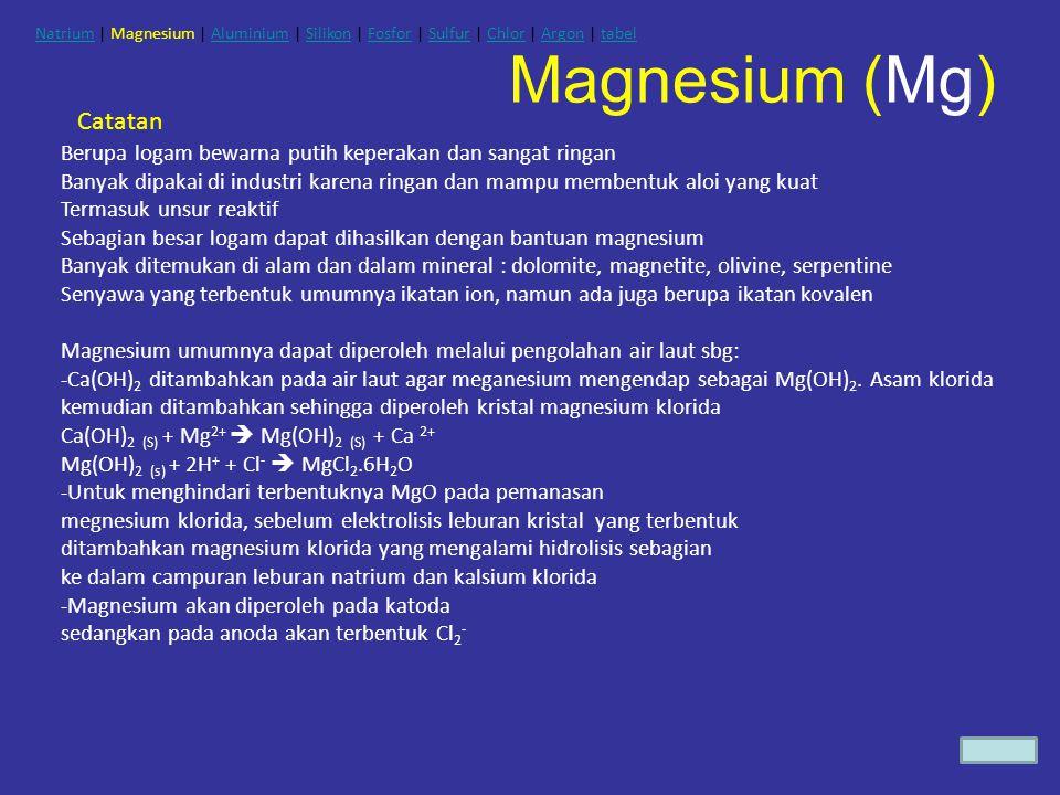 Magnesium (Mg) Catatan