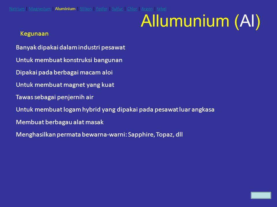 Allumunium (Al) Kegunaan Banyak dipakai dalam industri pesawat