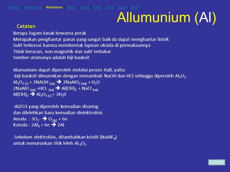 Allumunium (Al) Catatan Berupa logam lunak bewarna perak